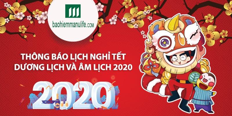 Thông báo thời gian nghỉ Tết dương lịch và âm lịch 2020